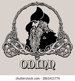 Wotan Odin God of wisdom, poetry and war. Illustration of Norse mythology, vector illustration
