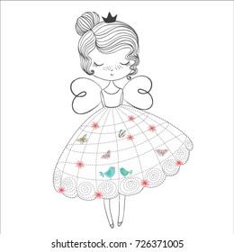 I would like to be a princess, doodle nursery illustration