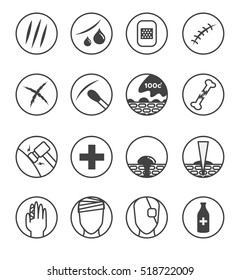 wound skin icon , logo and vector . 16 version ( skin scratch  bleeding  cross  Bandages , hot water  needle    )