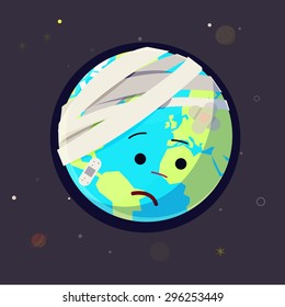 Wounded Earth. bandage and plaster on earth. heal the world concept - vector illustration