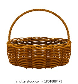 Woven Basket with Handle for Harvesting and Storage Vector Illustration