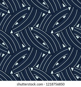 Woven Lines Arrows Seamless Vector Pattern. Geometric Graphic Texture Illustration for Masculine Fashion Prints, Dark Packaging, Trendy Textiles, Marine Style Yacht Backdrop. Classy Blue Home Decor.