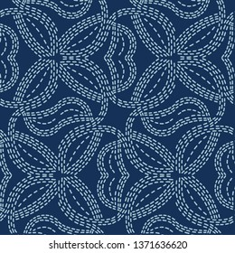 Woven motif sashiko style japanese needlework. Seamless vector pattern. Hand stitch indigo blue line texture for textile print. Classic Japan decor, Asian backdrop or simple kimono quilting template.
