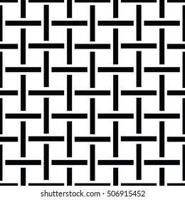 Woven texture. Crosshatch vector seamless pattern. Crossed graphic pattern. Checkered motif. Black and white background texture of crosshatched bold lines. Trellis pattern. Simple fabric print.