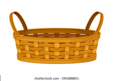 Woven Wicker Basket with Handle for Harvesting and Storage Vector Illustration