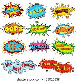 Wow Comic sound effects in pop art vector style. bubble speech with halftone word  expression illustration. Burst best graphic effect with label and text in retro