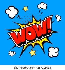 Wow! Comic  Speech Bubble, Cartoon vector on blue background