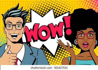 Wow couple. Handsome happy young surprised  man and sexy woman in glasses with open mouths and speech bubble with wow lettering. Vector colorful cartoon background in pop art comic retro style.