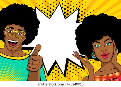 Wow couple. Sexy happy surprised african man and woman in pop art comic retro style with open mouths and speech bubble. Vector colorful cartoon background.