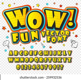 Wow. Creative high detail font for your design. 3D alphabet in the style of comics. Graphics pop - art on transparent background. Bright cartoon comic. Kids letters.