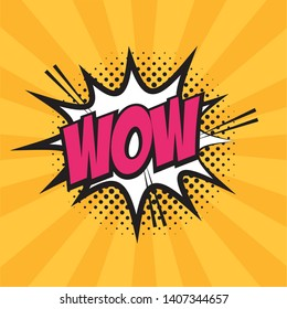 wow explosion halftone pop art elements  vector illustration