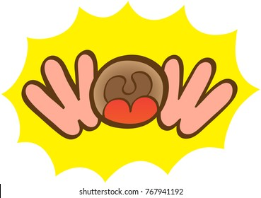 Wow expression formed by two hands around a wide open mouth. A yellow background with tips serves as a frame for the word. The mouth lets see the tongue and the uvula. Lettering art. Onomatopoeic word
