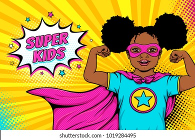 Wow face. Cute surprised african american black little girl dressed like superhero shows her power and Super Kids speech bubble. Vector illustration in retro pop art comic style. Party invitation poster.