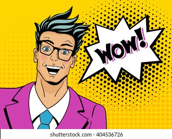 Wow face. Pop art man. Young surprised man in glasses with open mouth. Vector illustration in retro comic style. Vector pop art background.