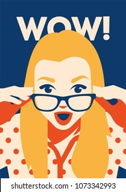 Wow face of surprised woman holding sunglasses in her hand. Vector flat illustration in retro style.