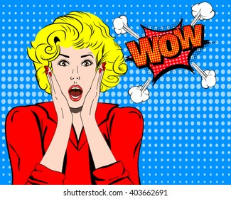 Wow face. Surprised woman vector. Panicking expression. Pop art girl. Shock emotion. Comic amazed woman. Impress concept illustration. Excited woman or girl face with open mouth. Panic stress blondy.