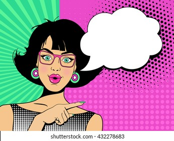 Wow face. Young sexy surprised woman with open mouth and hand pointing on speech bubble. Vector colorful background in pop art retro comic style.