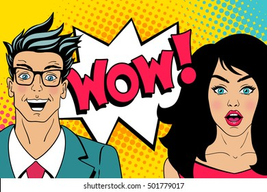 Wow faces. Handsome happy young surprised man in glasses and sexy surprised woman with open mouths and speech bubble with wow lettering. Vector colorful cartoon background in retro pop art comic style