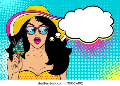Wow female face. Sexy surprised girl in hat and sunglasses with open mouth holding bright ice cream in her hand and speech bubble on halftone. Vector summer background in pop art retro comic style.