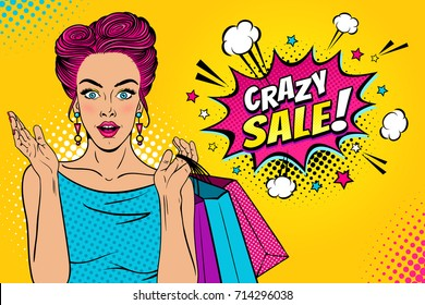Wow female face. Sexy surprised young woman with open mouth and pink hair holding shopping bags and Crazy sale speech bubble. Vector bright background in pop art retro comic style.