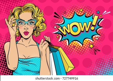 Wow female face. Sexy surprised young woman in glasses with open mouth and blonde curly hair holding shopping bags and Wow! speech bubble. Vector bright background in pop art retro comic style.