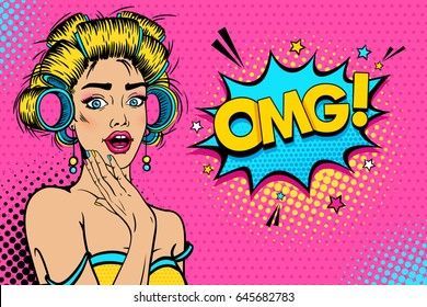 Wow female face. Sexy young blonde woman housewife with open mouth and hair curlers, bright makeup and OMG! speech bubble. Vector background in pop art retro comic style. Party invitation poster.