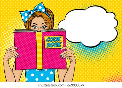 Wow female face. Sexy young woman housewife with wide open eyes and bow on her head holding big Cook Book. Vector colorful background in pop art retro comic style. Party invitation poster.