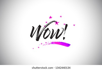 Wow!  Handwritten Word Font with Vibrant Violet Purple Stars and Confetti Illustration.