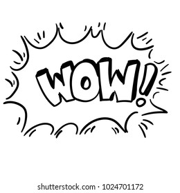 "WOW! The inscription ""wow"" and the explosion. Pop art drawing. Text from comics. Cool style. Clip art text. Sketch inscription. Black and white. Contour."