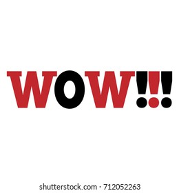 WOW Message bubble with emotional text Wow Retro speech bubble with red, white and black words.