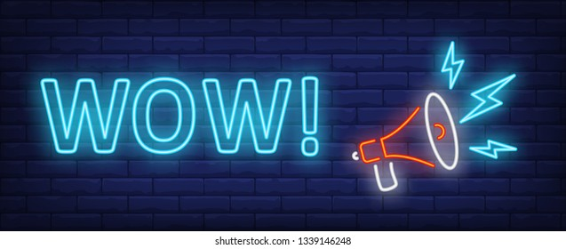 Wow neon text with megaphone. Announcement, promotion, advertising design. Night bright neon sign, colorful billboard, light banner. Vector illustration in neon style.