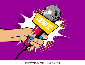 WOW news comic text speech bubble. Woman pop art style fashion. Girl hand hold microphone cartoon vector illustration. Retro poster comimc book performance. Entertainment halftone background.