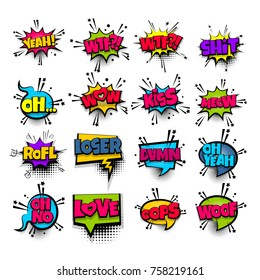 wow oh kiss damn love wtf oops set lettering. Comics book balloon. Bubble icon speech pop art phrase. Cartoon font label tag expression. Comic text sound. Vector illustration.