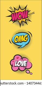 wow omg and love speech bubble pop art elements  vector illustration