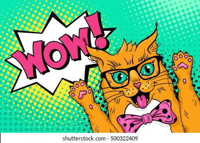 Wow pop art cat face. Funny surprised ginger cat in glasses and bow tie with open mouth rising his paws up. Vector colorful illustration in retro comic style. Vector pop art background.