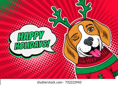 Wow pop art dog face. Funny surprised beagle in a Christmas sweater and deer horns winks and Happy Holidays speech bubble. Vector Christmas illustration in retro comic style. New Year background.