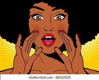 Wow pop art face. Sexy surprised african woman holding her hands open mouth and screaming. Vector colorful background in pop art retro comic style. Party invitation.