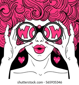 Wow pop art face. Sexy surprised  woman with pink curly hair and open mouth holding binoculars in her hands with inscription wow in reflection. Vector bright background in pop art retro comic style.