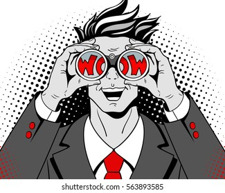 Wow pop art face. Young surprised man in suit with open mouth holding binoculars in his hands with inscription wow in reflection. Vector illustration in retro comic style on halftone background.
