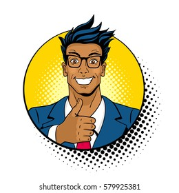 Wow pop art face. Young handsome dark skinned surprised man in glasses with open mouth shows thumb up in a circle with halftone. Vector colorful illustration in retro comic style on white background.