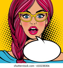 Wow pop art female face. Sexy surprised young woman in glasses with open mouth and pink hair and empty speech bubble. Vector bright background in pop art retro comic style.