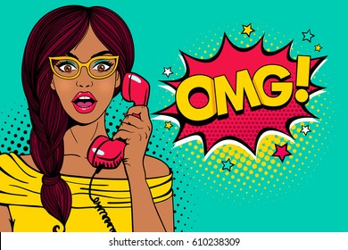 Wow pop art female face. Sexy surprised young woman in glasses with open mouth holding old phone handset and OMG! speech bubble. Vector bright background in pop art retro comic style.