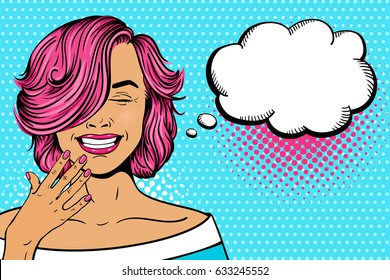 Wow pop art female face. Sexy young woman with pink curly hairstyle and closed eyes laughing and speech bubble. Vector bright illustration in pop art retro comic style. Party invitation poster.