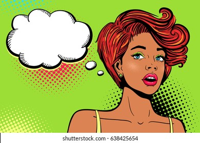 Wow pop art female face. Sexy surprised young african woman with open mouth, bright makeup, ginger hair and empty speech bubble. Vector colorful background in retro comic style. Invitation poster.