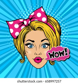 Wow pop art female face. Sexy surprised young blonde woman with open mouth and big bow on her head and WOW! speech bubble. Vector bright background in pop art retro comic style.