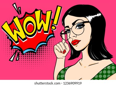 Wow pop art girl. Sexy young woman with glasses and black hair. Vector bright background in pop art retro comic style.