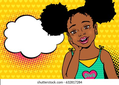 Wow pop art kids face. Happy surprised little african american girl with open mouth and afro hairstyle and empty speech bubble.Vector bright background in pop art retro comic style. Invitation poster.