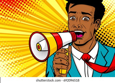 Wow pop art male face. Young african american man with open mouth, flying tie, megaphone screaming announcement. Vector background in comic retro pop art style. Party invitation poster.
