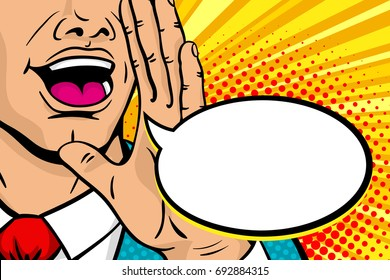 Wow pop art male face. Closeup of man with open mouth rising his hand screaming announcement and empty speech bubble. Vector background in comic retro pop art style. Invitation poster.