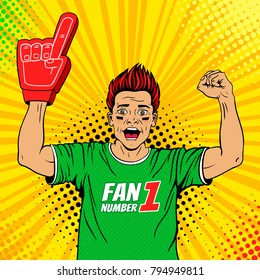 Wow pop art male face. Young sexy happy football fan with open mouth rising his hands celebrates win. Vector colorful illustration in retro comic style. Watching sport game invitation poster.